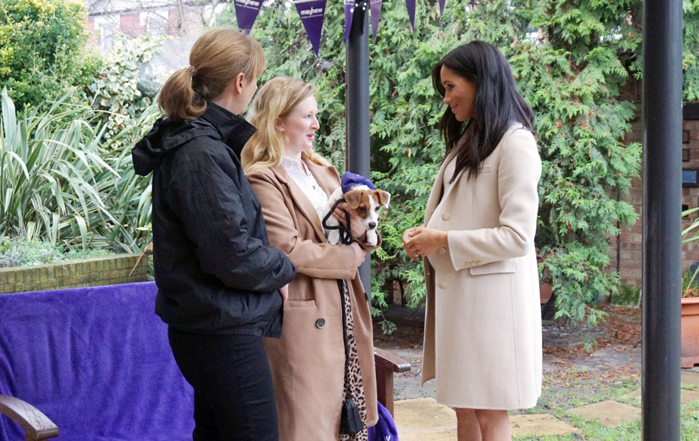 Duchess of Sussex meets puppy at Mayhew